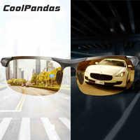 Alumínio magnésio photochromic óculos de sol polarizados óculos de visão noturna homem oculos motorista amarelo óculos de condução gafas de sol
