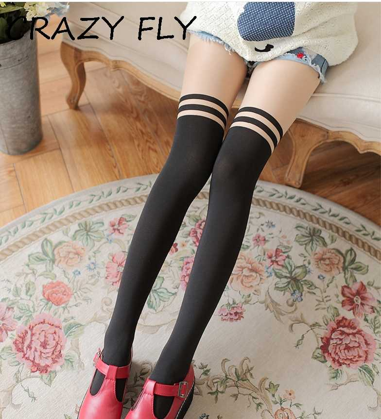 8cc0036cb CRAZY FLY New Arrival Women Velvet Sexy High Knee Socks Harajuku Black  Stripe Boot Winter Warm