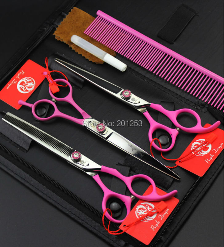 High Quality 7Inch JP440C Pink Pet Grooming Scissors Pet Fur Clippers Dog Shear Straight &Thinning&Curved Scissors 3Pcs LZS0611 7 5inch jp440c 360 degree rotation pet grooming scissors fur clippers dog shears 3pcs