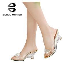 Большой размер 34-43 женские пикантные сандалии на высоких каблуках и резной прозрачной платформе декорированные стразами летняя обувь с открытым носком сандалии на платформе