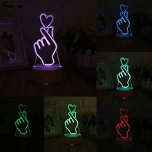 USB Novelty 7 Colors Changing Finger Heart LED Night Light 3D Desk Table Lamp Home Decor acrylic 7 colors changing animal horse led nightlights 3d light led desk table lamp usb 5v lamps for home decoration