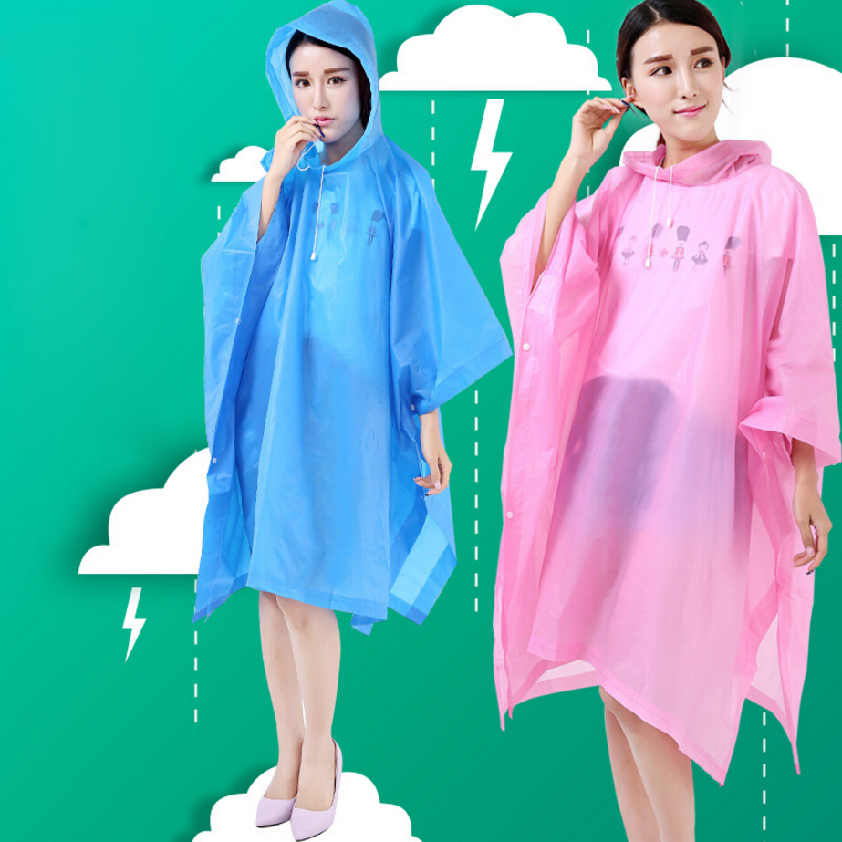 Adults Raincoats Couples Rainwear Translucent Poncho Non-disposable Rain Gear EVA Material Riding Camping Mountaineer Travel
