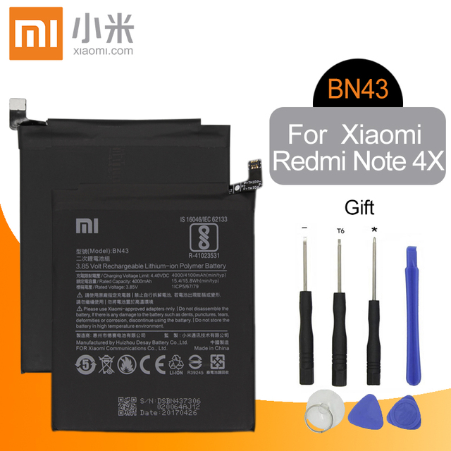 シャオ mi BN43 オリジナル交換電話バッテリー 4000 用シャオ mi 赤 mi 注 4 × 4 X/ 注 4 グローバル Snapdragon 625 + 無料ツール