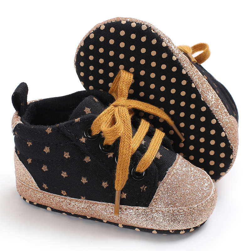 1 Pair Bling First Walker Baby Girls Shoes Canvas Dots Bebe Toddler Booties Soft Sole Newwborn Boys Sport Sneakers Fashion