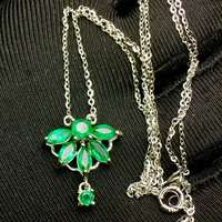 Natural Columbia Emerald Necklace 925 silver Seiko mosaic, heavy silver. Natural emerald support test