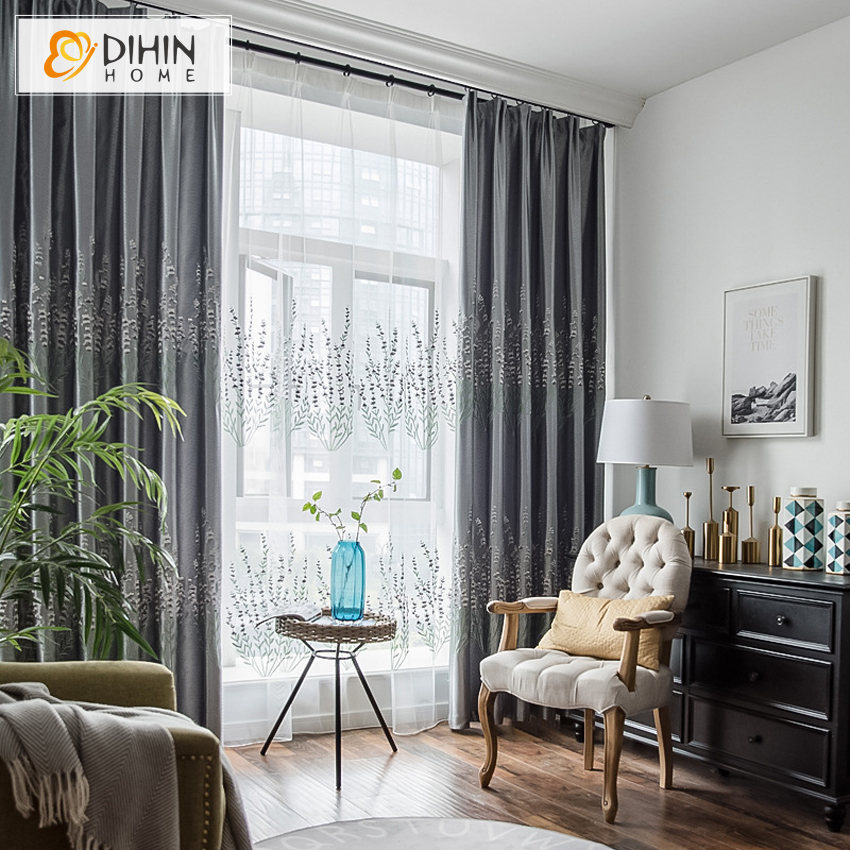 High Window Curtains: Pastoral 2 Colors High Quality Customized Window Curtains