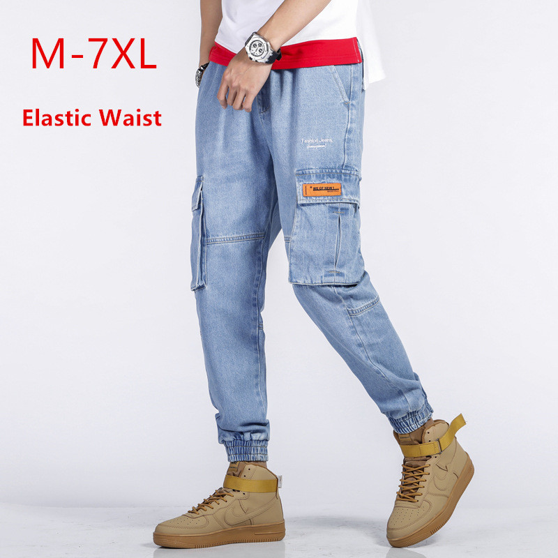 Cargo Pants Jeans Men Joggers Blue Mens Harem Jogger Denim Trousers Uomo Hip Hop Biker Big Size 5XL 6XL 7XL Fashion Cowboy Jean
