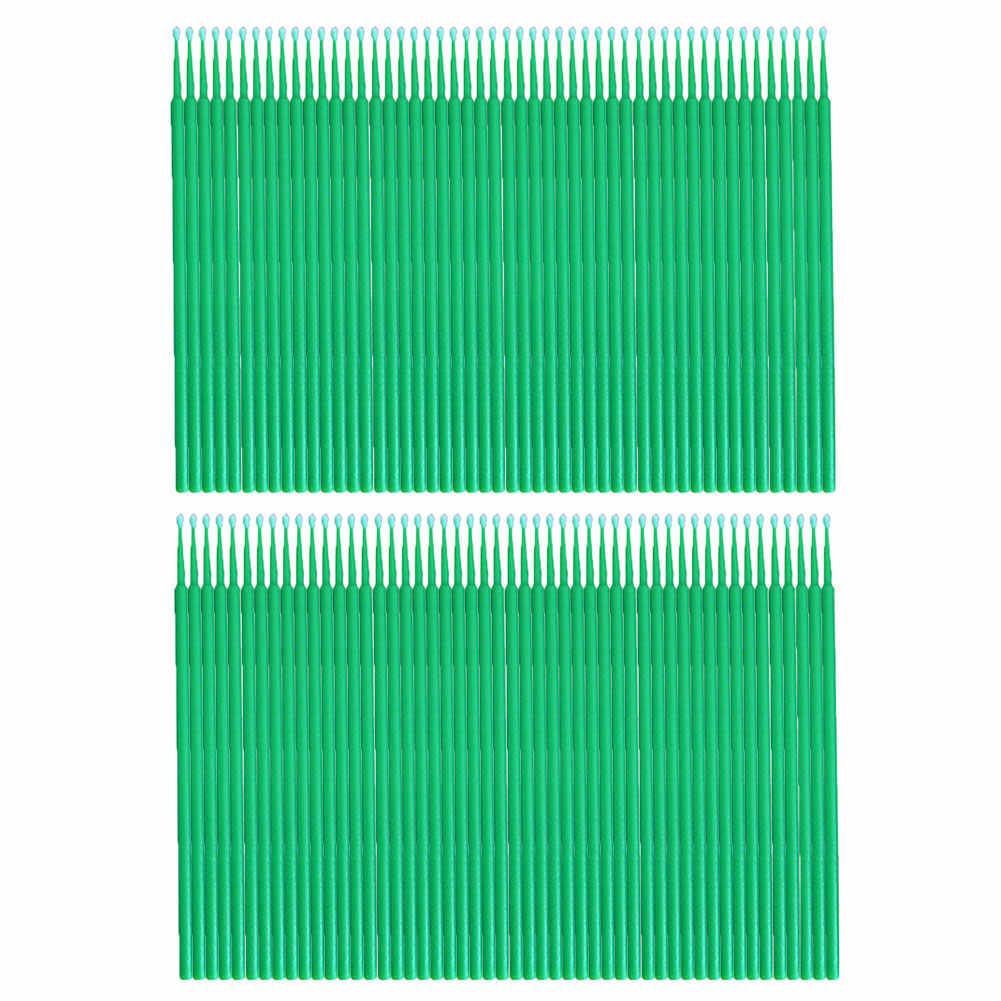 100 pièces 0.25/0.20/0.15cm 3 couleurs jetables Micro brosse dent applicateur coton-tige