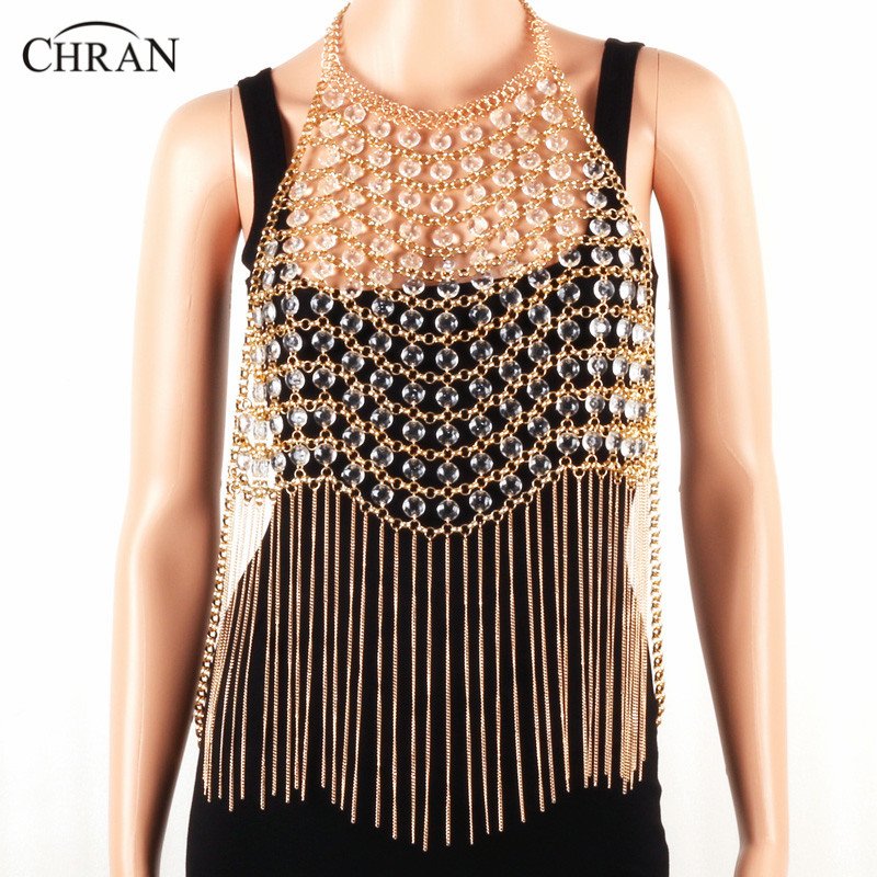 Chran Sexy Beaded Bralette Women Harness Chain Crop Top Necklace Bikini Beach Body Belly Waist Dress Halter Necklace Jewelry extreme destroyed raw hem drawstring waist crop jeans