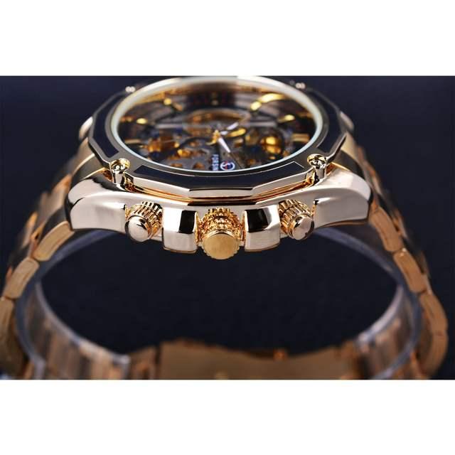 46f10c463ac Forsining 2017 Nova Coleção Transparente Caso de Ouro Esqueleto de Aço  Inoxidável Homens De Design de Luxo Relógio Marca de Topo Relógio ...