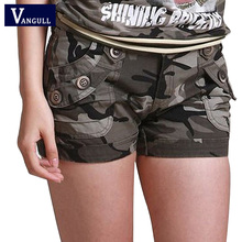 Vangull Camouflage shorts 2018 women Slim Fit Military Ladies girls zipper pocket Mini shorts overalls jeans Combat cargo shorts
