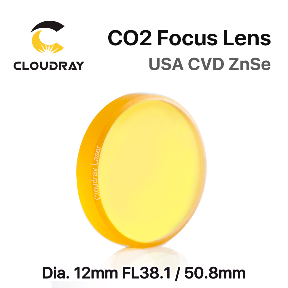 Cloudray USA CVD ZnSe Focus Lens Dia. 12mm FL 38.1/50.8mm 1.5/2 for CO2 Laser Engraving Cutting Machine Free Shipping laser focus lens for laser welding machine spot welder co2 laser engraving cutting machine free shipping