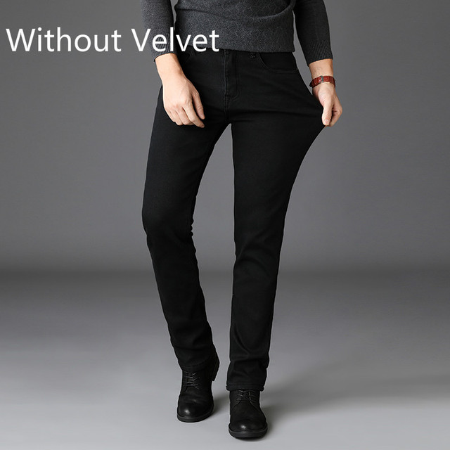 2020 New Trousers Grey Fleece Men Clothes  Black Elasticity Warm Thinker Winter Jeans Busines With Or No Velvet 2 Model Jeans 6