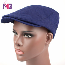 Fashion Mens Beret Casual Flat Caps Polyester Newsboy Cap for Men Peaked Solid Hats Casquette