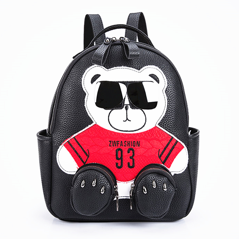 2018 Women Girls Fashion PU Leather Glasses Bear Backpack Teddy Bear Backpack School Bags fmous brand leisure small backpack bag