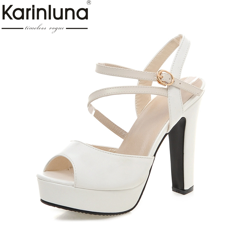 Karinluna Hot Sale Big Size 31-43 Peep Toe Sandals Women Shoes Summer Spike High Heels Platform Peep Toe Black White Shoes Woman anmairon shallow leisure striped sandals women flats shoes new big size34 43 pu free shipping fashion hot sale platform sandals