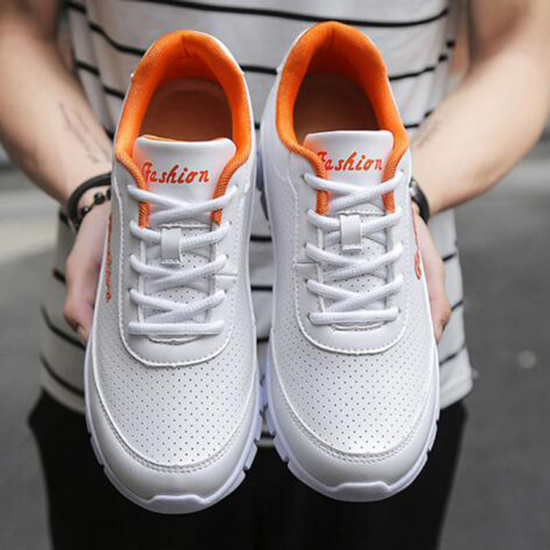 Sports Genuine Leather Casual Shoes Men Fashion Non-slip Lace-up Breathable Massage Height Increasing Waterproof Outdoors Shoes