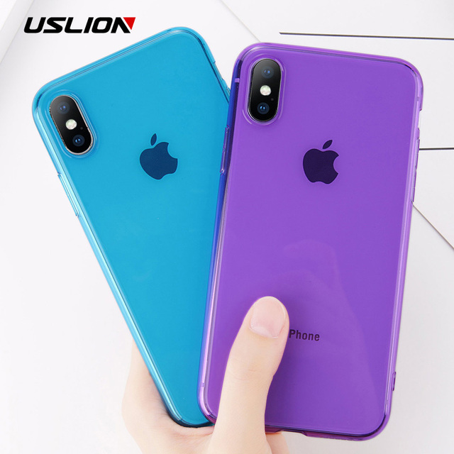 USLION Clear TPU Silicone Case For iPhone X 8 Plus Ultra Thin Transparent Back Cover for iPhone 7 6 6S Plus Soft Phone Cases