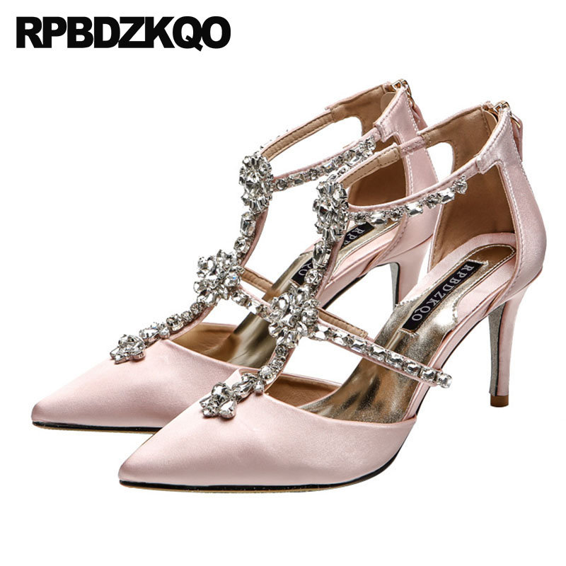 high heels crystal women t strap pumps diamond ivory wedding shoes 3 inch satin bridal rhinestone pointed toe strappy thin pinkhigh heels crystal women t strap pumps diamond ivory wedding shoes 3 inch satin bridal rhinestone pointed toe strappy thin pink