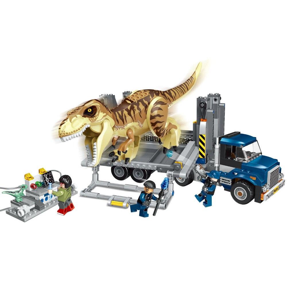 все цены на Jurassic World Park T. Rex Transport Building Blocks Kit Bricks Sets Classic Movie City Model Kids Toys Gift Compatible Legoe онлайн