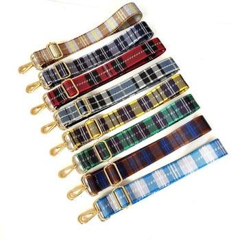 цена на Adjustable Women Bag Strap Trendy Stripe Design Gold Buckle Lady Shoulder Straps Easy Matching Plaid Style Bag Belts For Bags