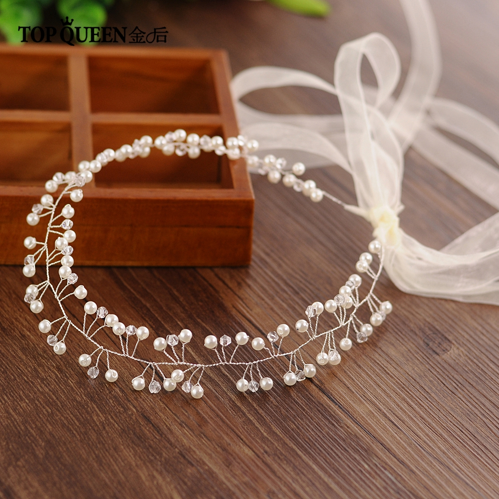 TOPQUEEN HP47-S Handmade Wedding Tiara Bridal Headband Wedding Headwear Wedding Hairband Wedding Hair Accessories For Bride