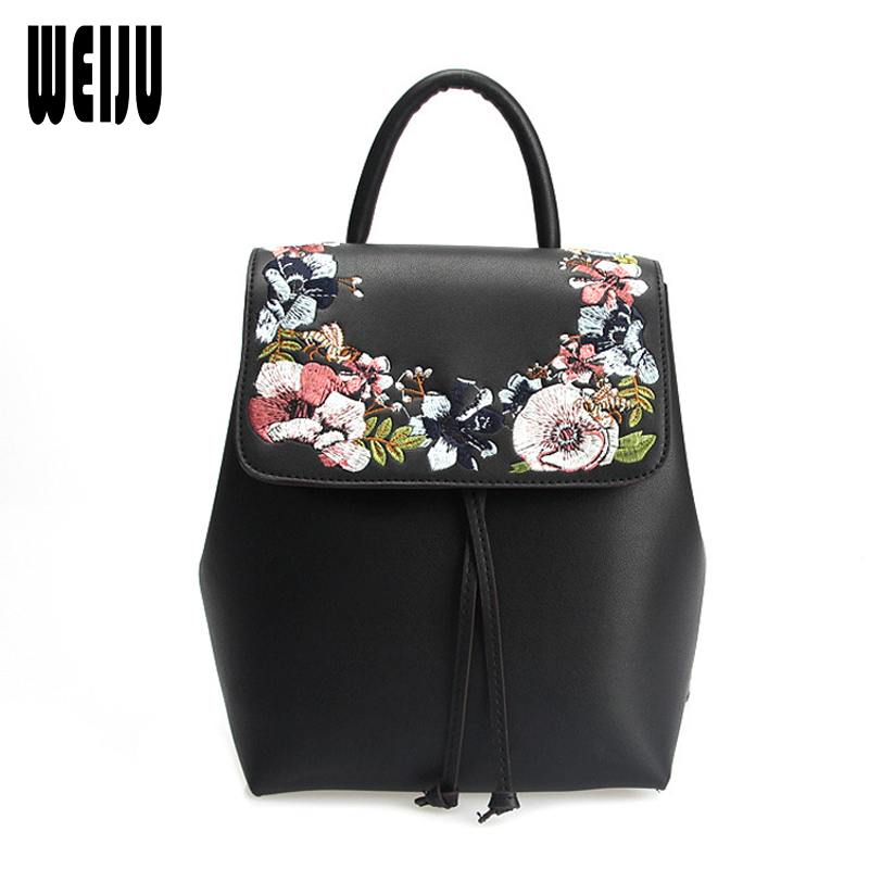 WEIJU 2018 Fashion Designer Flower Embroidery Backpacks Shoulder School Bag Women Backpack PU Leather Female Bags mochilas mujer women backpacks fashion pu leather shoulder bag small backpack women embroidery dragonfly floral school bags for girls