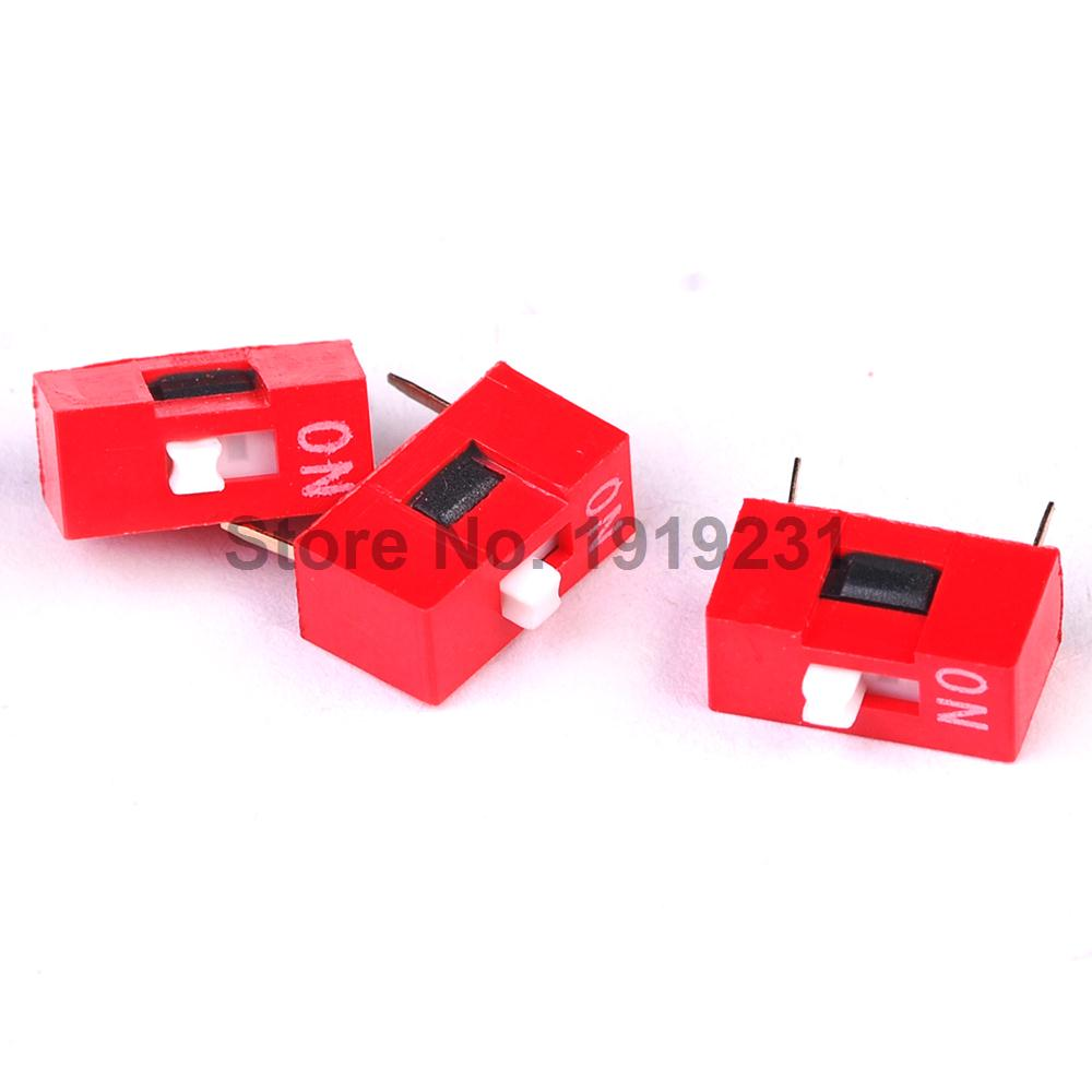 20PCS 1Pin DIP Switch 1P 2.54mm Toggle Switch Red Snap Switch