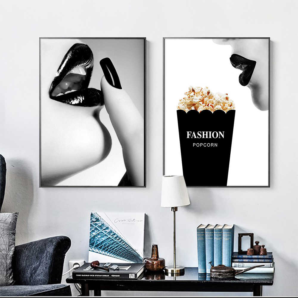Cuadros Vogue Woman Wall Pop Art Prints and Posters Poster Black and White Modern Canvas paintings For Living Room Decor