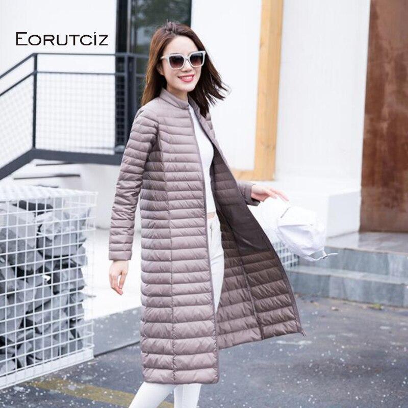 EORUTCIZ D'hiver Longue Ultra Léger manteau de duvet Femmes Plus Taille 3XL Veste Printemps Vintage Mince Mince décontracté Noir Manteau LM362