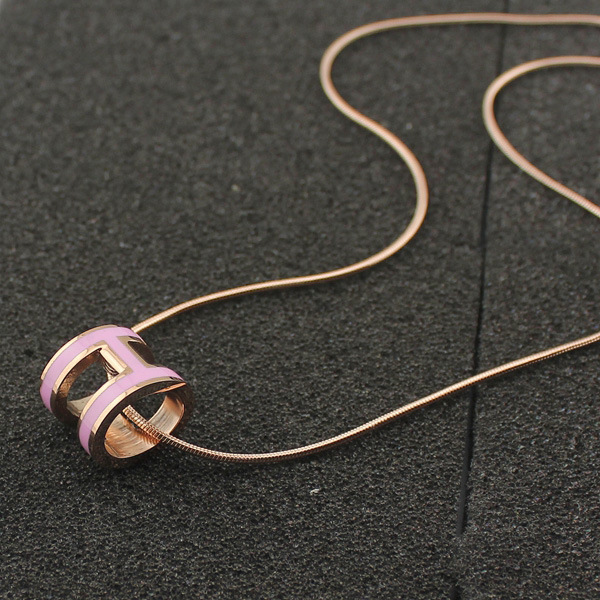 high quality 316 stainless steel h letter pendant necklace for women (7)