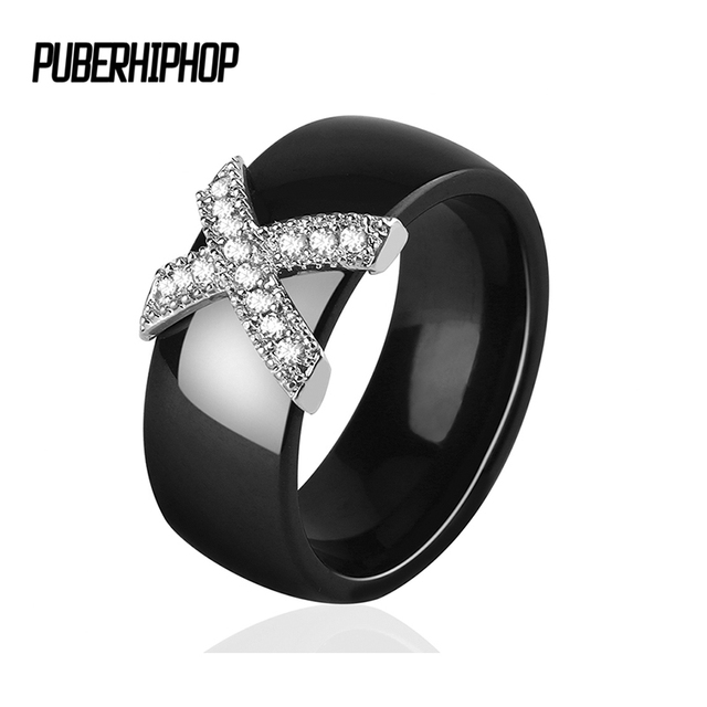 2018 X Cross Ceramic Rings With AAA Crystal For Women anillos mujer 6MM 8MM Pink