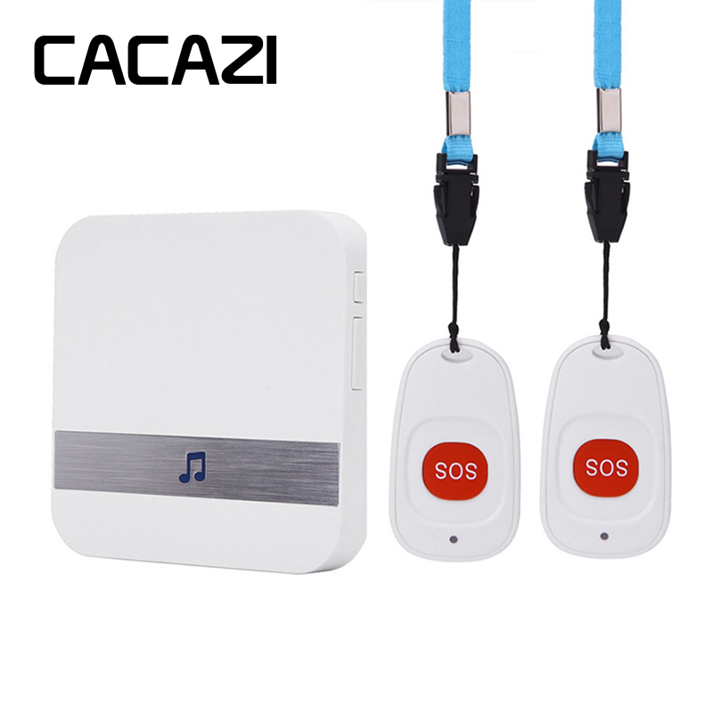 CACAZI Wireless Medical Call Button System Pager Service Caregiver 2 Call Buttons 1 Receiver Medical Call Alert Safety Alarm singcall wireless calling system patient alarm system emergency sound and light alarm small caregiver receiver with two buttons