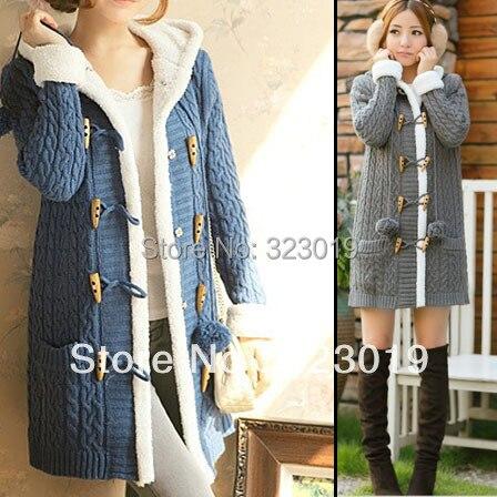 Cardigan à capuche boutonné manteau Long en laine pour femme, chandail de loisirs d'hiver chaud de mode, 5 couleurs