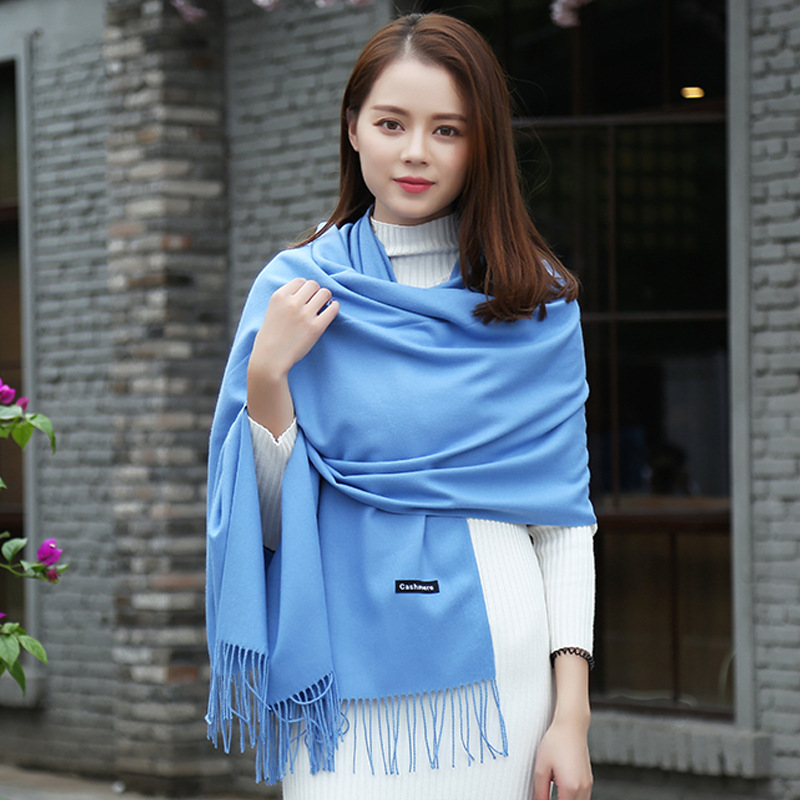 New Style Navy Blue Scarf Winter Women Scarf Female Pure Color Scarf Best Quality Cashmere Tassels Women Wraps  GP01