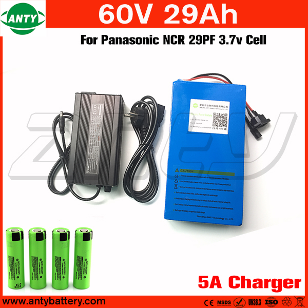 60v Battery 29Ah 2800w Built in 50A BMS Lithium Battery 60v with 5A Charger For Panasonic Cells e Bike Battery 60v Free Shipping