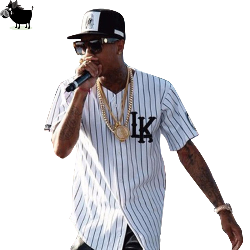 Man Si Tun Sommar Style Mens Tees Mode Streetwear Hip Hop Baseball Jersey Striped Shirt Herr Kläder Tyga Last Kings Kläder