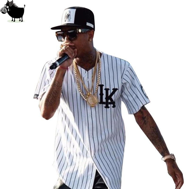 Man Si Tun Summer Style Mens Tees Fashion Streetwear Hip Hop baseball jersey striped shirt Men Clothes tyga last kings Clothing