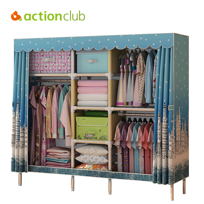 Actionclub Oxford Cloth Wardrobe 25MM Steel Pipe Thicken Reinforcement Large Wardrobe Closet DIY Assembly Fabric Storage Cabinet the new cloth wardrobe simple reinforcement of low housing assembly large folding cloth
