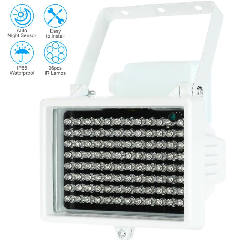 60m 96 LEDs 12V 60m Night Vision IR Infrared Illuminator Light Lamp LED Auxiliary Lighting Waterproof For Security CCTV Camera 6 led infrared night vision ir light illuminator lamp waterproof housing for cctv security camera system
