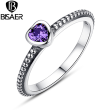 Purple Zirconia Original 925 Sterling Silver Ring Love Heart Rings  Luxury Jewelry WEU7106