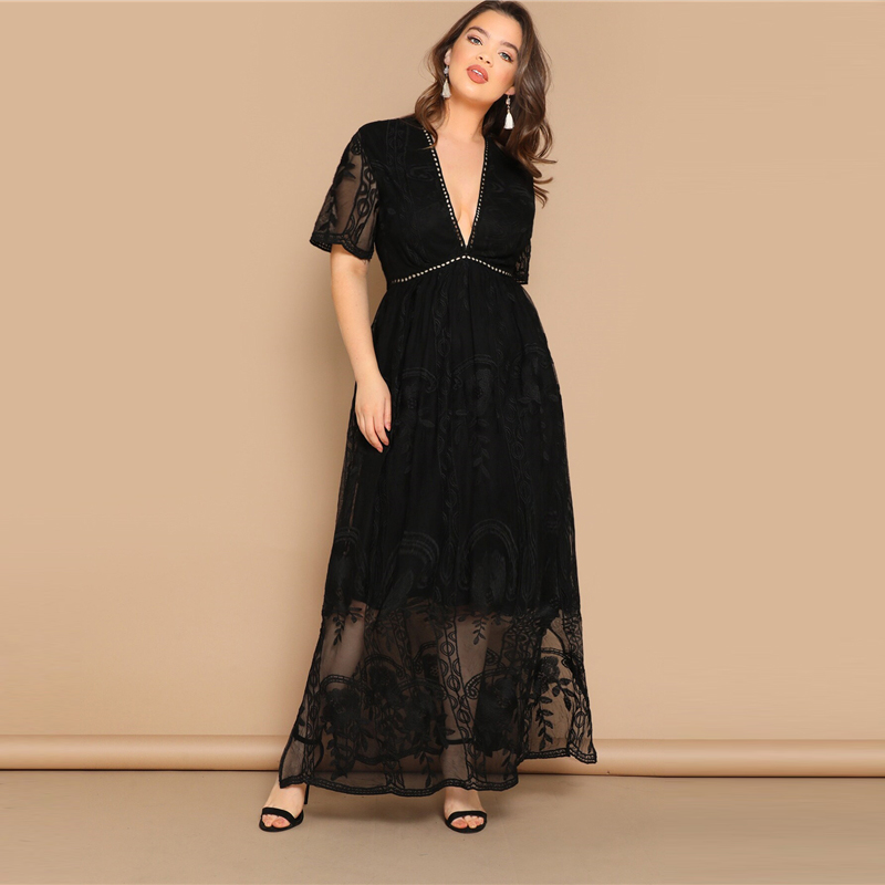 Plus Size Black Eyelet Lace Insert Plunge Neck