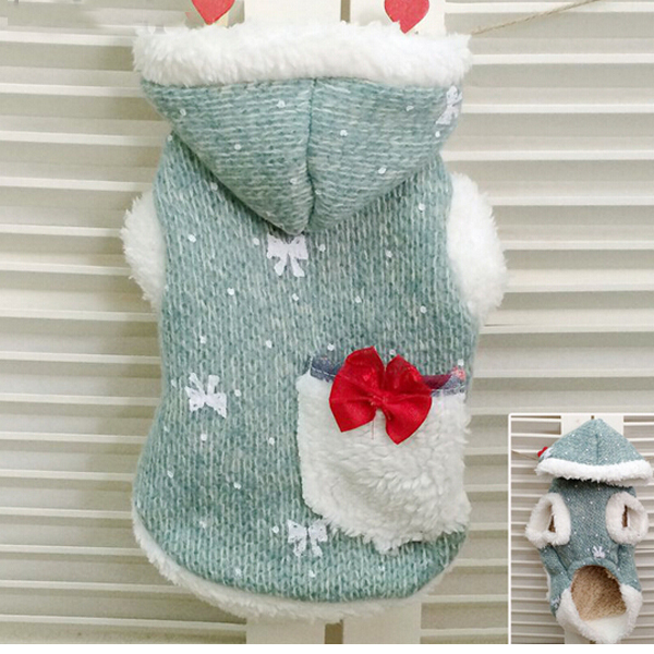 Litter Bow Tie Big Pocket Shine Rabbit Hood Small Dog Sweater