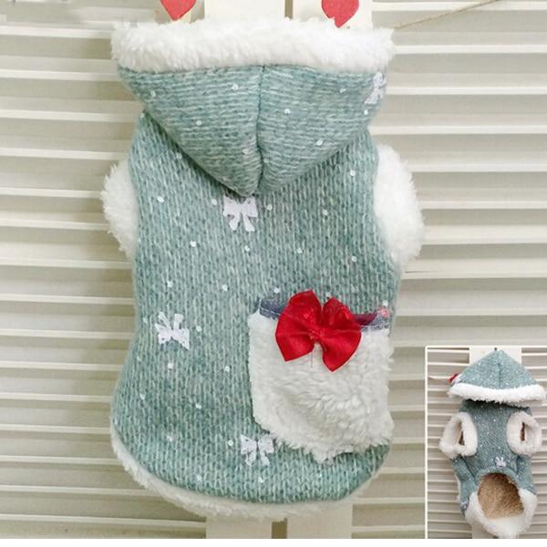 Litter Bow Tie Big Pocket Shine Rabbit Hood Small Dog Sweater