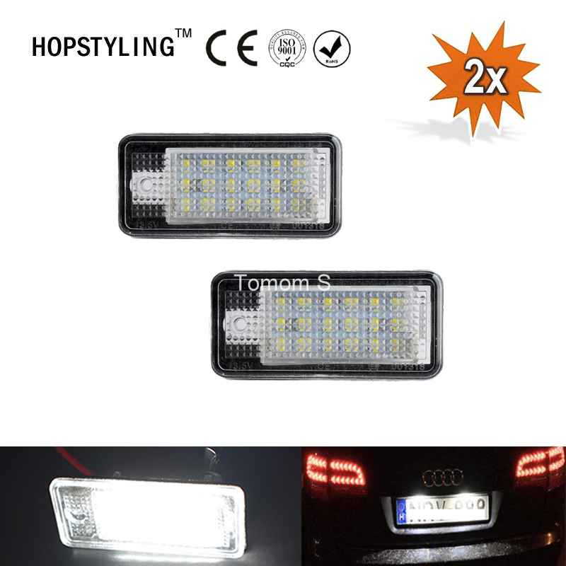 2Pcs Car LED License Plate Lights 12V SMD3528 Number Plate Lamp Bulb Kit For Audi A3 S3 A4 S4 B6 B7 A6 C6 S6 A8 S8 RS4 RS6 Q7 smaart v 7 new license