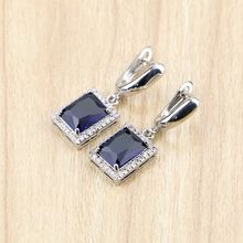 Square 925 Sterling Silver Jewelry Blue Cubic Zirconia Drop Dangle Earrings For Women Free Gifts Box