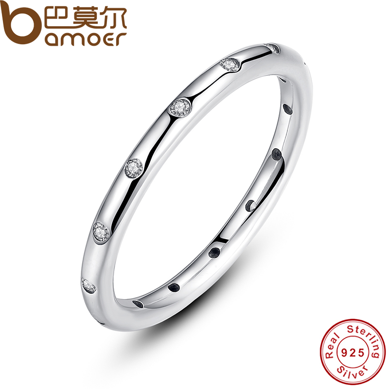 BAMOER Valentine s Day Deals 925 Sterling Silver Droplets Stackable Finger Classic Ring for Women Wedding