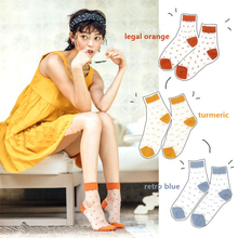 2019 Spring and Summer Japanese Transparency Magazine Recommends Retro Point Colored Short Socks Women Cute Korean Style