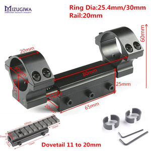 Image 4 - Scope Mount 30mm 1 inch 25.4mm Rings w/Stop Pin Zero Recoil Base 11mm to 20mm Adapter Picatinny Rail Weaver Compensation Airgun
