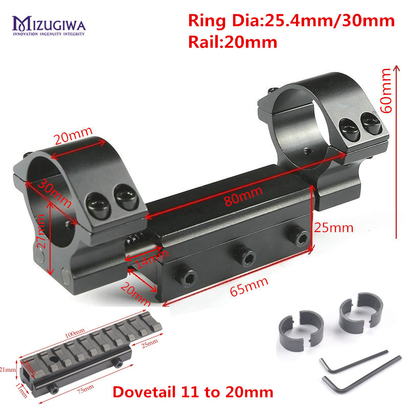 Una pieza plana superior doble anillos 25,4mm/30mm w/Stop Pin 20mm carril Picatinny Dovetail weaver Rifle 11mm a 20mm adaptador de montaje